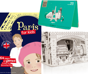 Paris for kids  - pack travel book + coloring game